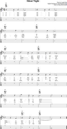 Silent Night --Banjo - tabulatury,tablature,tab,tabs