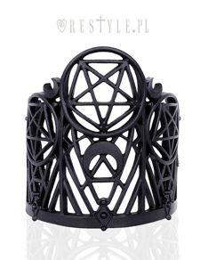 """WICKED BRACELET"" Modern bangle, Pentagram & Crescent, black gothic cuff"