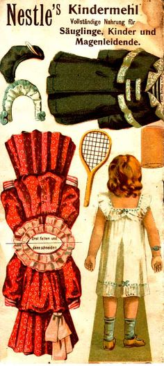 Nestle´s Kindermehl Puppen-Bastelbogen von 1902 www.eichwaelder.de