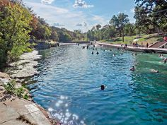 "Austin's version of a ""waterin' hole,"" the three-acre Barton Springs Pool is fed from underground springs with an average temperature of 70 degrees, making it a great place to cool off on a hot summer day."