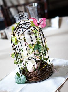 bird cage centerpieces | Our none tradtional center pieces : wedding diy green pink Bird Cage