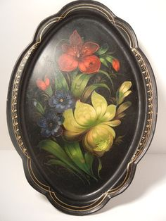 Antique Hand Painted Toleware Tray | eBay
