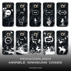 PERSONALISED MARBLE BLACK PHONE CASES COVERS SAMSUNG S6, S6 EDGE, S7, S7 EDGE !!