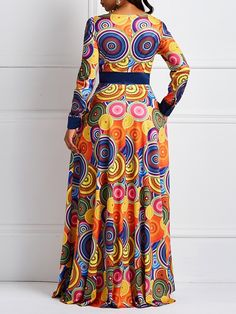 Silhouette: Expansion Dress Length: Floor-Length Sleeve Length: Long Sleeve Neckline: Round Neck Combination Type: Single Closure: Pullover Elasticity: High Elasticity Pattern: Geometric,Color Block Embellishment: Backless,Patchwork,Zipper,Print S. African Dresses For Kids, African Maxi Dresses, Latest African Fashion Dresses, African Print Fashion, African Attire, Long Dresses, African Wear Designs, African Print Dress Designs, African Traditional Dresses