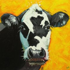 Cow portrait animal painting 664 20x20 inch original oil painting by Roz