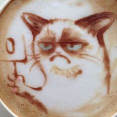 Grumpy cat in my cup. Latte Art Is Taken to the Next Level with These Remarkable Creations (45 pics) - Picture #9 - Izismile.com
