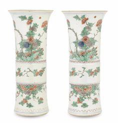 A pair of famille verte vases, gu, Shunzhi period (1644-1661)