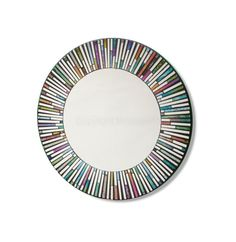 Large Dia Round Rainbow Tiles Mirror in a mosaic style.