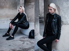 Get this look: http://lb.nu/look/7792776 More looks by MONIKA S: http://lb.nu/mxagnes Items in this look: Misbehave Misbhv Logo Turtleneck, Zara Pu Leather Jacket, H&M Skinny High Waist Pants, Nike Roshe One Sneakers, Parfois Pu Leather Bag #minimal #sporty #street