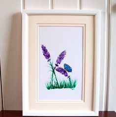 Lavender and Blue Butterfly - Mounted to A4 size £20.00