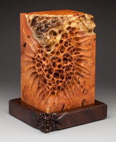 """Live Edge"" (11.5""h x 9""w x 8""d). Amboyna Burl with a Claro Walnut base. George Post, photography. http://www.markdoolittlestudio.com/uploads/3/0/2/9/3029303/3360652_orig.jpg"