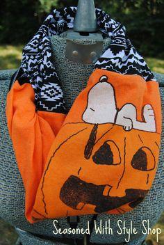 Halloween Snoopy Upcycled TShirt Infinity by SeasonedWithStyle