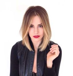 Long Bob with Rooty Blonde Ombre Hair Color