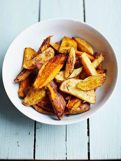Smoky mixed-potato wedges   Jamie Oliver Vegan Recipes Jamie Oliver, Homemade Potato Wedges, Sweet Potato Wedges, Vegetable Sides, Vegetable Recipes, Gluten Free Recipes, Vegetarian Recipes, Jamie's Recipes, Dinner Recipes