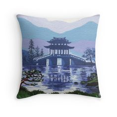 """Japanese landscape"" Throw Pillow by Savousepate on Redbubble #throwpillow #pillow #homedecor #painting #pagoda #landscape #japan #blue #green"