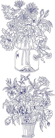 Advanced Embroidery Designs - Flowers in a Vase Redwork Set