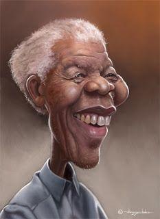 Nelson Mandela, by Strogulski Caricatures