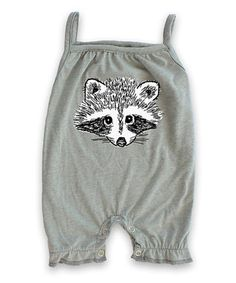 Heather Gray Raccoon Strappy Romper - Infant