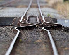 Railroad track after earthquake
