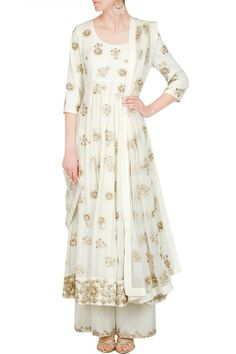 Looking for White and gold pallazo with anarkali? Browse of latest bridal photos, lehenga & jewelry designs, decor ideas, etc. on WedMeGood Gallery. Pakistani Outfits, Indian Outfits, Indian Clothes, Indian Attire, Indian Wear, Event Dresses, Casual Dresses, Wedding Dresses, Eastern Dresses