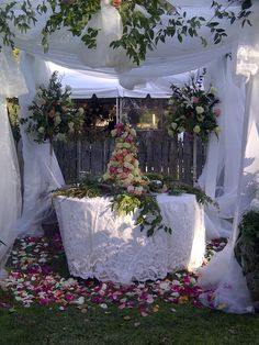 Floral Cake and centerpieces