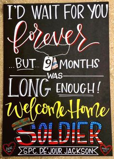 Military Homecoming Sign / welcome home / chalkboard / deployed / deployment / C. Marine Homecoming, Military Homecoming Signs, Homecoming Posters, Military Signs, Homecoming Ideas, Homecoming Dresses, Welcome Home Signs For Military, Welcome Home Soldier, Deployment Quotes
