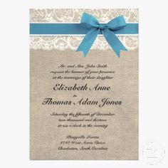White Lace & Blue Ribbon on Burlap Wedding Invitation