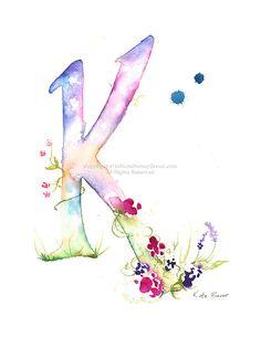 Letter K Watercolor Monogram Flower Lettering Watercolor