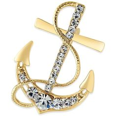 Charter Club Gold-Tone Crystal Nautical Anchor Pin, ($20) ❤ liked on Polyvore featuring jewelry, brooches, gold, pin, goldtone jewelry, pave jewelry, pave crystal jewelry, gold tone jewelry and charter club jewelry