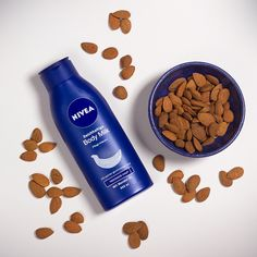It's snack time! Start your day healthy and nourished with almonds and our NIVEA Rich Nourishing Body Moisturizer.