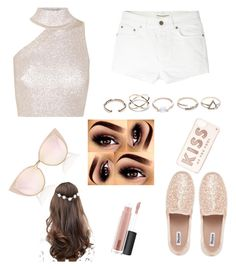"""""""Rosy gold summer"""" by sabrinawimer on Polyvore featuring Cushnie Et Ochs, Yves Saint Laurent, GUESS, ASOS, Kate Spade and MAC Cosmetics"""