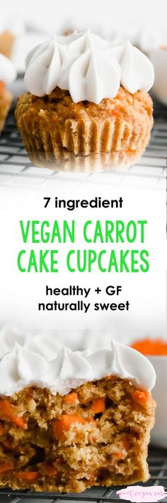 Vegan carrot cake cupcakes have a soft, sweet carrot cake, topped with a creamy whipped cream! Healthy, gluten free and sweetened naturally. #vegancupcakes #carrotcake #cupcakes #healthycupcakes #cupcakerecipe #vegancupcakerecipe #dessert #healthydessertr Vegan Cupcake Recipes, Healthy Cupcakes, Carrot Cake Cupcakes, Vegan Carrot Cakes, Vegan Cupcakes, Vegan Cake, Healthy Dessert Recipes, Vegan Desserts, Cupcake Cakes