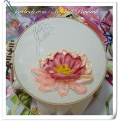 Lotus ribbon embroidery