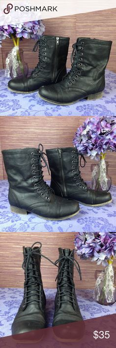 Madden Girl Gamer Combat Boots Madden Girl Black Gamer Combat Boots. Size 7M. Very good condition. Lace up in the front with inner zipper. Few areas of minor wear - please see pictures. Madden Girl Shoes Combat & Moto Boots