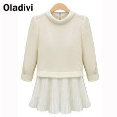 Big Size Elegant Women Blouse European Style Lady Office Shirt 2015 New  Fashion Female Pleated Chiffon Patchwork Short Dress 4cc199ac8c68