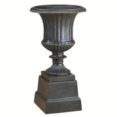 This item is a High Quality Ornate Lead Tone Cast Iron Urn Planter And Pedestal *Depicted In Black, This Item Is In Lead Tone* Item Urn Planters, Outdoor Planters, Potted Plants, Pedestal, Flute, Cast Iron, Vase, Statue, Unique Jewelry