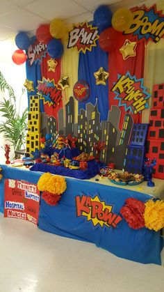 "ThemeYou can find Superhero party and more on our website.Super Hero ThemeSuper Hero ThemeYou can find Superhero party and more on our website.Super Hero Theme Photo 9 of Superhero / Birthday ""Superhero Party"" Superman Birthday Party, Avengers Birthday, 4th Birthday Parties, Birthday Party Decorations, 5th Birthday, Superhero Party Decorations, Superhero Theme Party, Birthday Ideas, Super Hero Birthday"