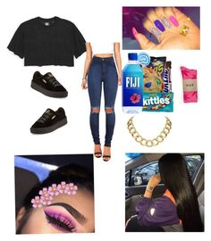 """""""Black and Gold ✨"""" by liloandjayy ❤ liked on Polyvore featuring Ivy Park, Vibrant, Puma, HUF and House of Harlow 1960"""