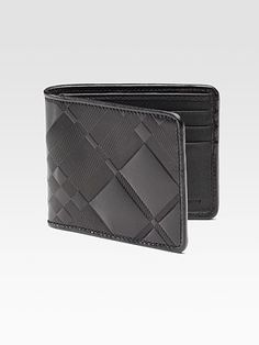 Burberry Embossed Check Leather Bi-fold Wallet