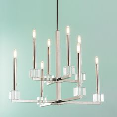 Crystal Cube Double Tier Chandelier polished_nickel