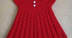 Kırmızı örgü kız çocuk bebek tunik