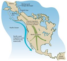 Possible human migration routes from Siberia to North America. - Map by Joyce Heuman Kramer; Pacific Coast, Pacific Ocean, Animal Movement, Citizen Science, Canadian History, Big Game, Water Crafts, Social Studies, Geography