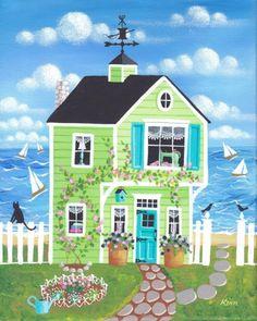 Etsy の Bobbin Bay Cottage Folk Art Print by KimsCottageArt