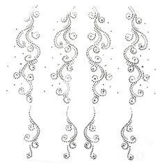 Rhinestone Transfer Hot fix Motif Fashion Design Decorations flower tattoo line  #korea
