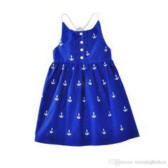 girls dresses 2017 summer style cartoon anchor kids dresses for girl clothes high quality fashion suspender halter girl dress christmas