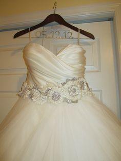 Lazaro dress and hangar with wedding date