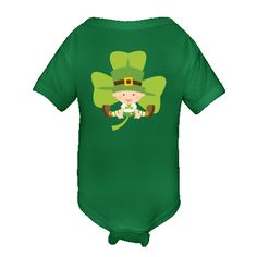 Irish Baby Shamrock Infant Creepers for St Patricks Day has lucky little baby in green on a clover background you can customize. $16.99 www.homewiseshopperkids.com