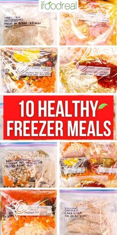 Meal prep 5 or 10 Healthy Freezer Meals in just 2 hours with a shopping list and how-to video. No pre-cooking required and then just cook your delicious frozen meal in your Instant Pot or slow cooker. Healthy Freezer Meals, Coconut Chicken, Just Cooking, Family Meals, Instant Pot, Meal Prep, Slow Cooker, Snack Recipes, Clean Eating