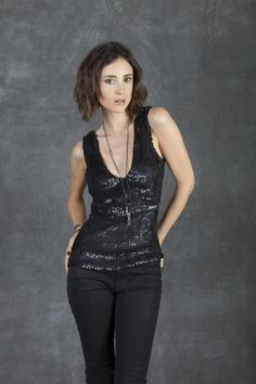 Cecilia de Bucourt Black Hand Embroidered with Multi Shape Metal Sequins Top