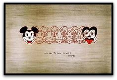 """""""Mickey to Tiki Tu Meke"""" is a wonderful print by one of New Zealand's favourite artists, Dick Frizzell. Frizzell has humourously morphed Mickey Mouse into the tiki, a New Zealand design icon. Maori Designs, New Zealand Art, Nz Art, Photo Mural, Maori Art, Kiwiana, Thing 1, Framed Prints, Art Prints"""